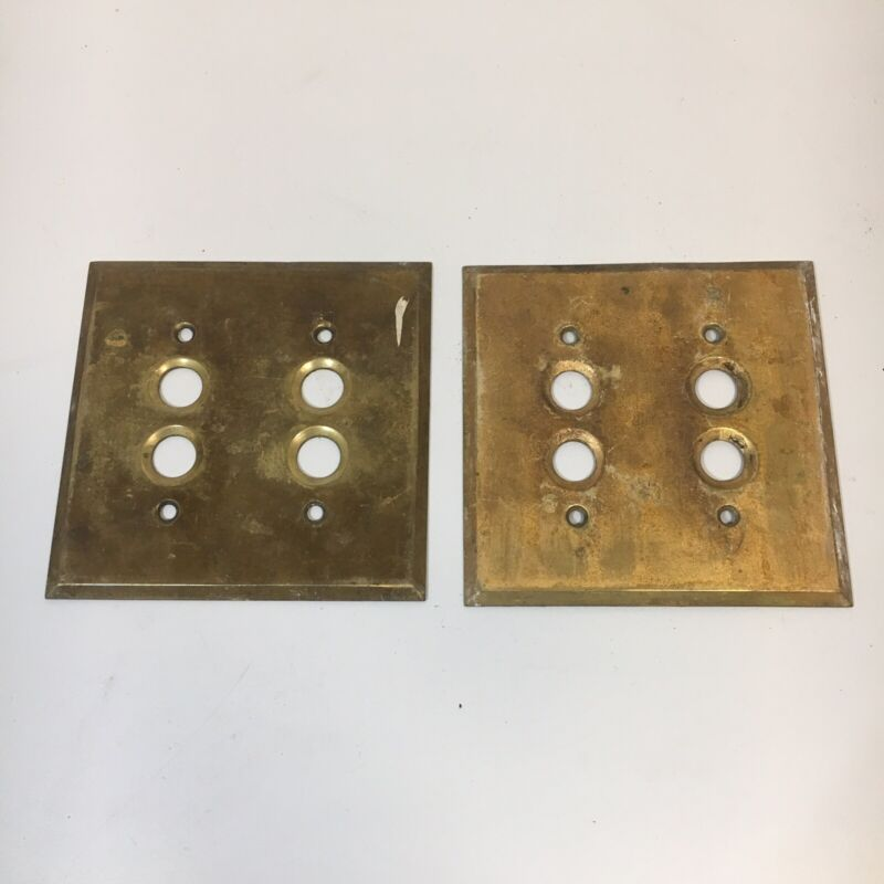 2 VINTAGE ELECTRICAL HARDWARE 2-GANG PUSH BUTTON SWITCH COVER PLATE SOLID BRASS