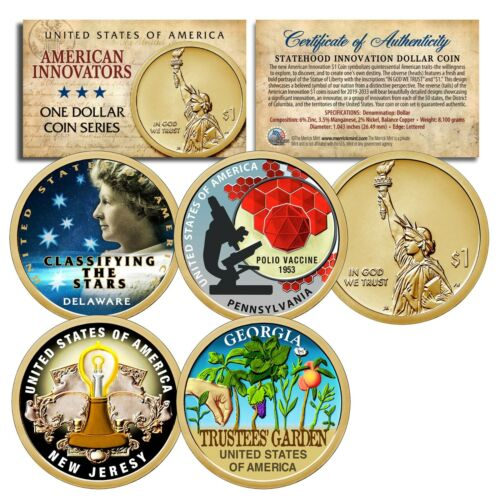 Set of ALL 4 - American Innovation COLORIZED 2019 Statehood $1 Dollar Coins COA