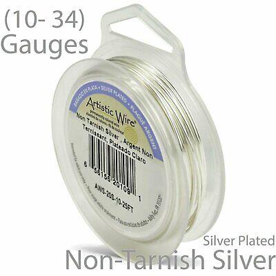 Silver Plate non-Tarnish Artistic Wire - Silver Plated Round Craft Wire Non Tarnish Silver Artistic Wire
