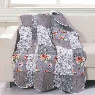 """Giulia Quilted Throw Blanket - 50x60"""" Gray"""