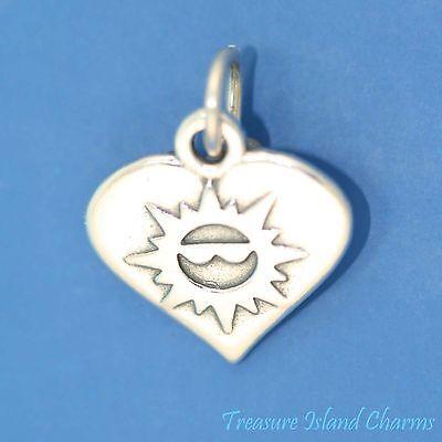 Herz mit Sonne Gesicht in Sonnenbrille Sommer 925 Solid Sterling Silber Anhänger