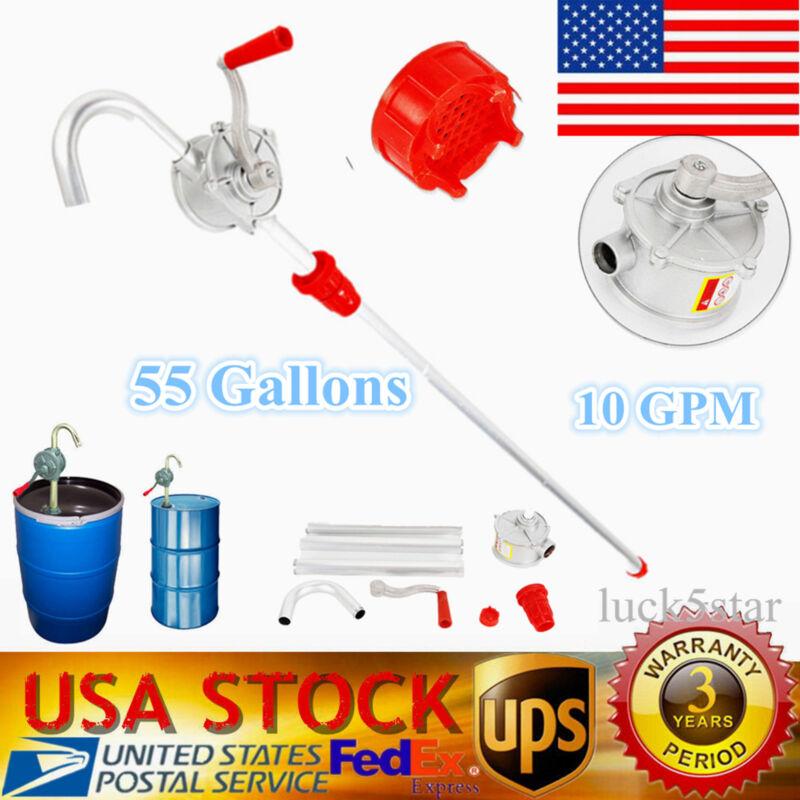 Drum Rotary Manual Hand Barrel Heavy Duty Pump Diesel Fuel Oil Gas Tool 10 GPM
