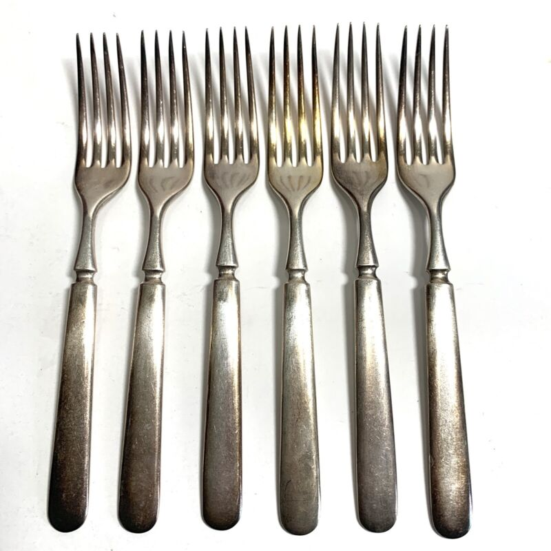 "6 Antique Vintage Collectible Forks 7.25"" LH Tonner Silver Plate 16 DWT"