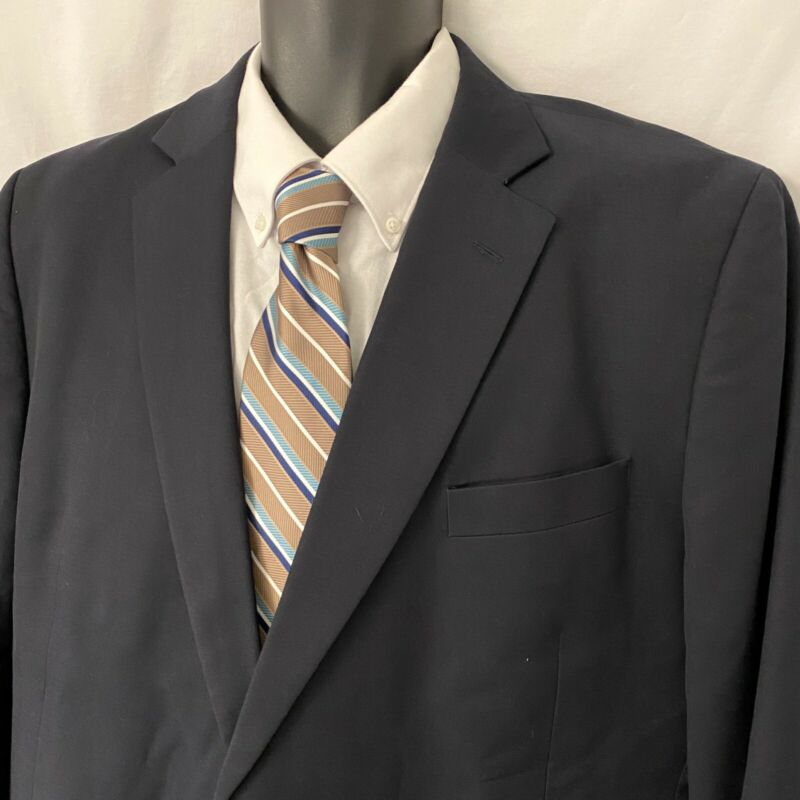 48L Mens Stafford Sport Coat Blazer Suit Jacket Solid Navy 48 L