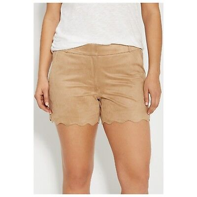 Maurices women's Smart Faux-Suede Shorts Scallop 2 front pockets Color Brown