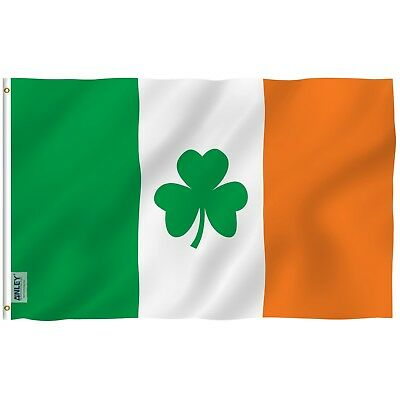 ANLEY Irish Shamrock Flag Ireland St Patrick's Clover Polyester 3x5 Foot Flags