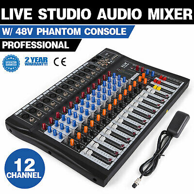 120S-USB 12 Channel Live Studio Audio Mixer Mixing Console Phantom Power X7W8 Channel Audio Mixing Console