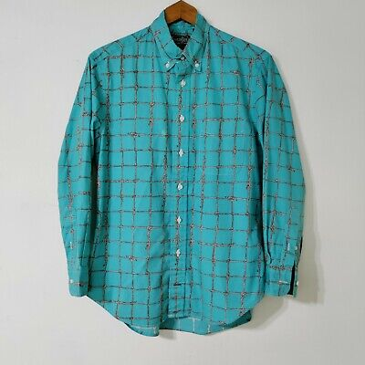 Gitman Bros Vintage Buttondown Shirt M Blue Rope Knot Grid Print Western