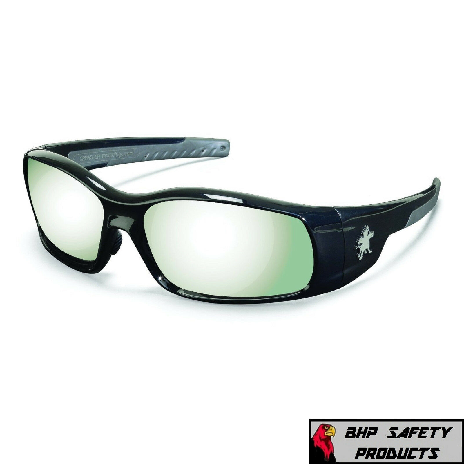 MCR CREWS SWAGGER SAFETY GLASSES SUNGLASSES WORK SPORT EYEWEAR CHOOSE YOUR COLOR SR117 SILVER MIRROR/BLACK FRAME