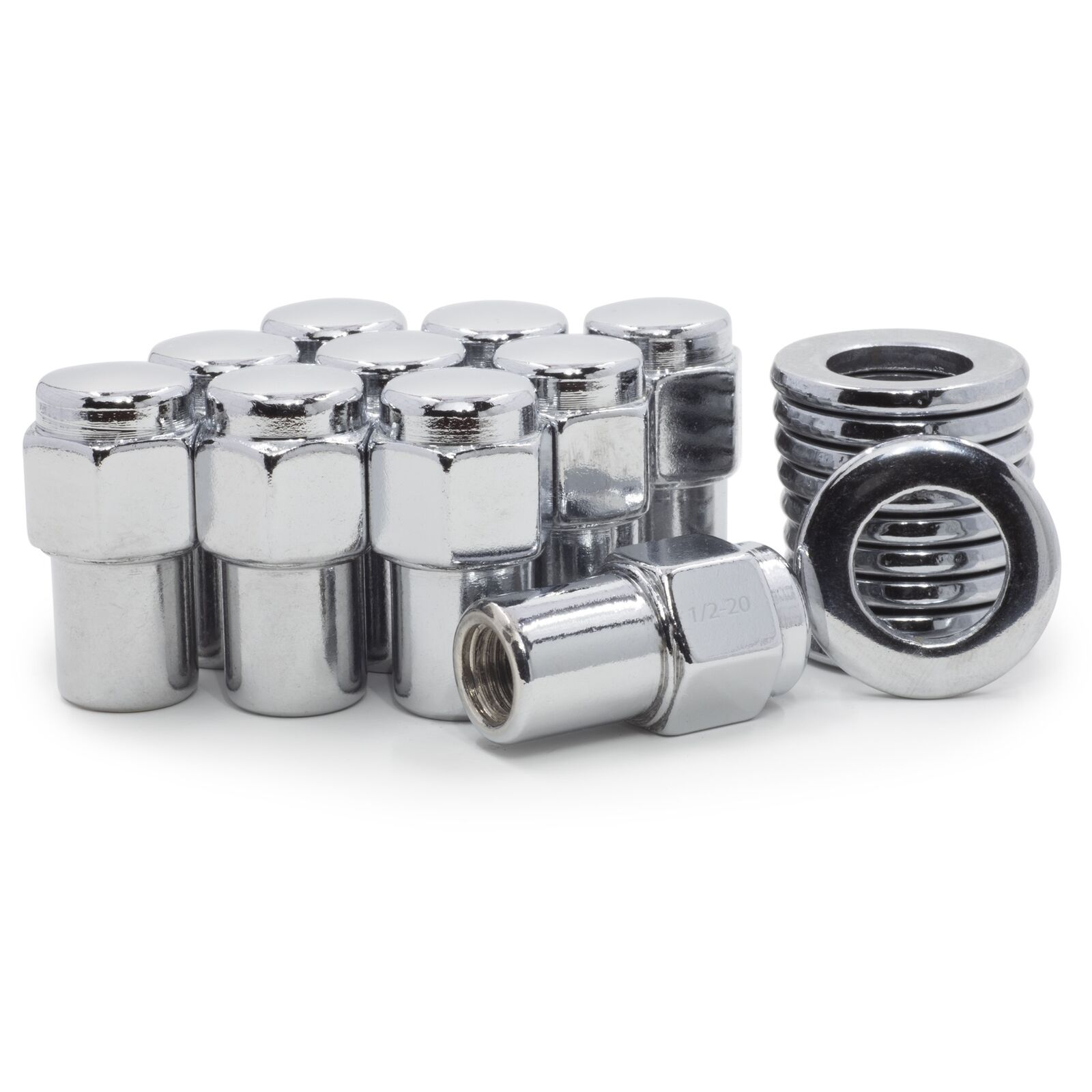 10 Lug Nuts 12x1.5 Chrome Open End Mag .75 Shank Standard Washers