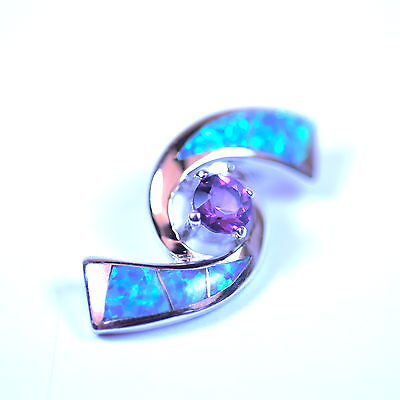 Sterling Silver Amethyst and Opal Spiral Pendant Opale Spiral