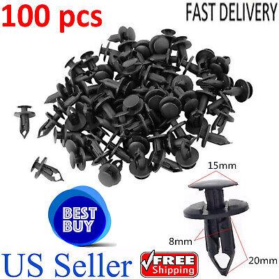 100 Pcs Black Plastic Rivets Retainer Clip 8mm x 15mm x 21mm for Car Bumper