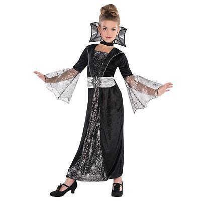 Kinder Mädchen Böse Vampir Hexe Gotik Spinnenkönigin Halloween Kostüm ()