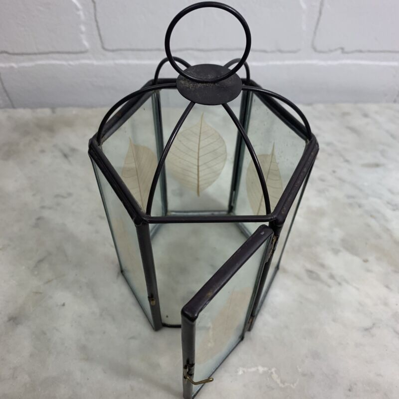 Vintage Glass Terrarium Lantern Pressed Leaves Boho