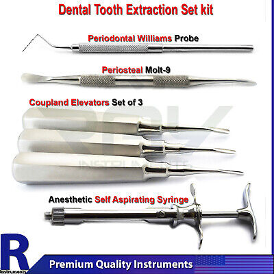 Dental Tooth Extraction Elevators Periosteal Probe Syringe Molt 9 Scalers Tools