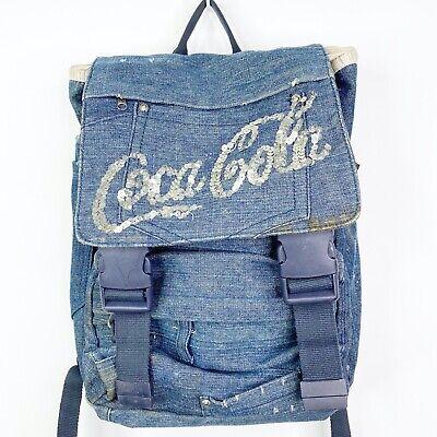 Vintage Coca Cola Coke Denim Jean Distressed Backpack Bookbag Handbag Tote Bag