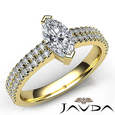 French Pave Set Womens Marquise Diamond Engagement Ring GIA Certified H VVS2 1Ct