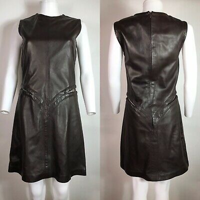 Rare Vtg Gianni Versace 90s Brown Leather Dress S 40