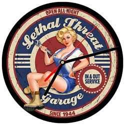 8 WALL CLOCK - Vintage Looking Sign Garage #24 Lethal Threat Service Car Pinup