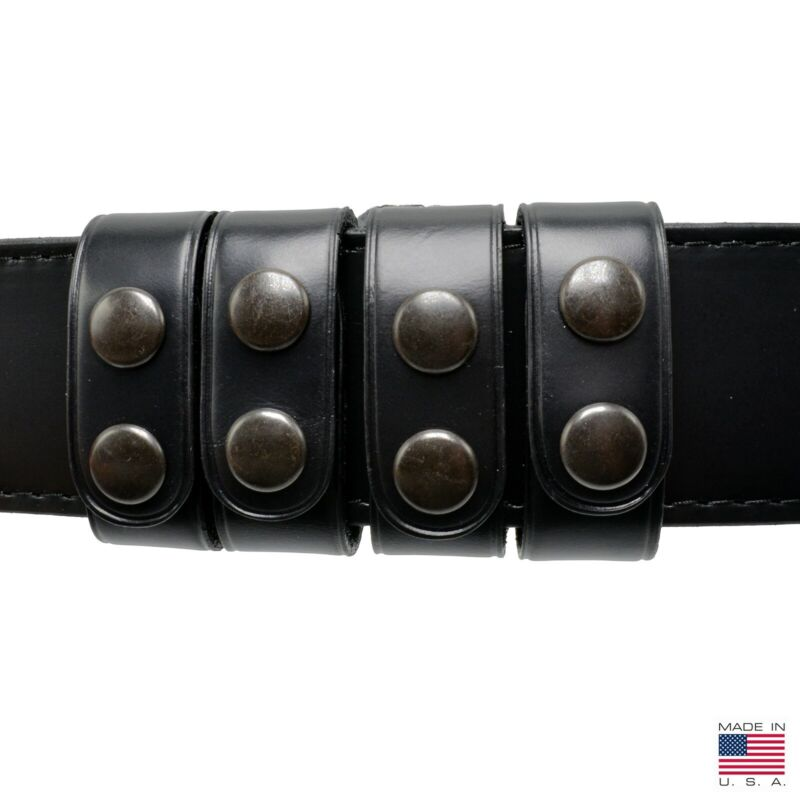 """Perfect Fit Duty Belt Keepers 1"""" Plain 4 PAK Genuine Leather Black Snap USA Made"""