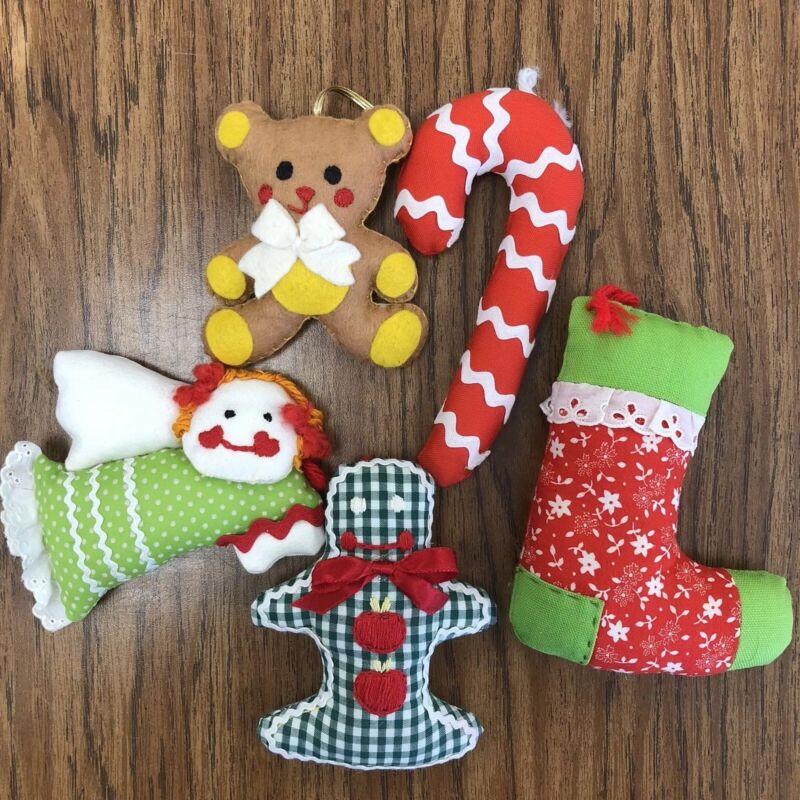 Vintage 16 Fabric Christmas Ornaments Stuffed Handmade Gingham Angel Bear