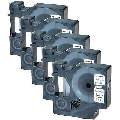 5pk 18488 Black On White Flexible Nylon Industrial Label For Dymo Rhino 5200