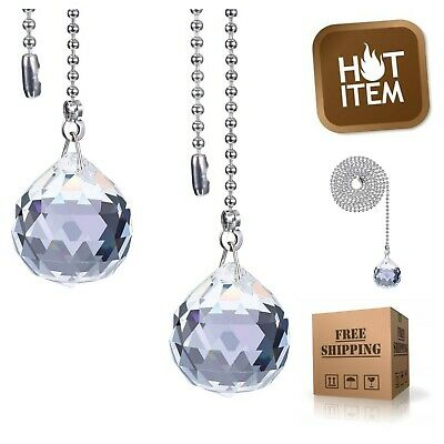 2-Pack Crystal Clear Pendant Lighting & Ceiling Fan Pull Chains Extension 12