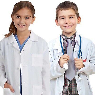 Kids Medical Doctor Lab Coats Long White Jacket for Childrens Child Girls Boys -