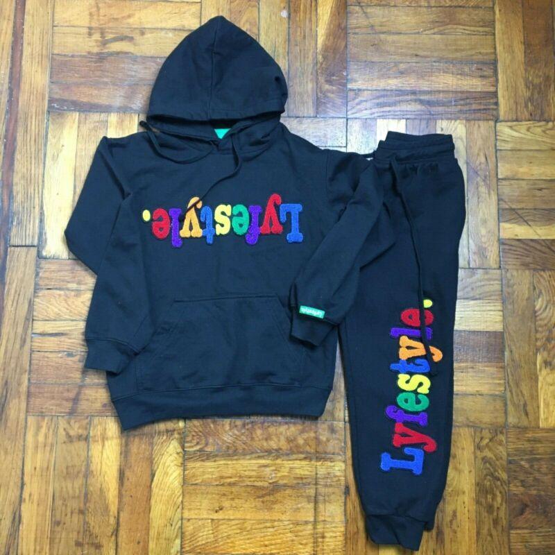 Lyfestyle Black Two Piece Kids Unisex Multi-Color letters Hoodie Sweatsuit Sz SM