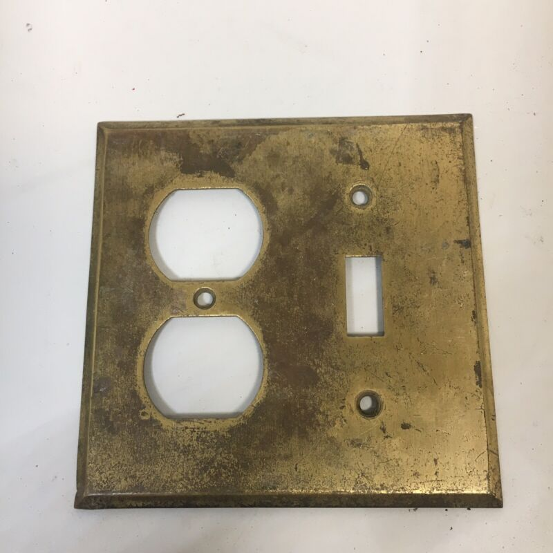 Vintage Brass Outlet Switch Plate Cover Combo Beveled Edges