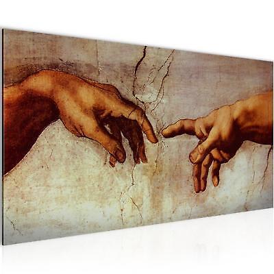 Bild Bilder Wandbild XXL 100x40 Creation of Adam Michelangelo Leinwand aus Vlies