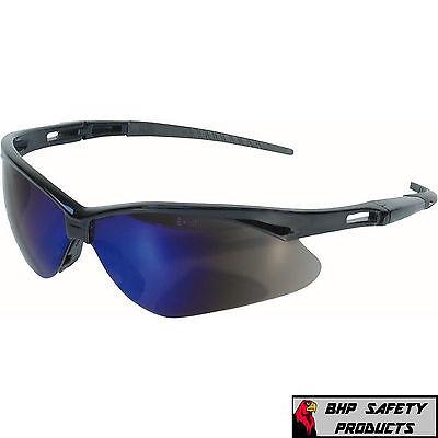 JACKSON NEMESIS 3000358 SAFETY GLASSES BLACK FRAME BLUE MIRROR LENS KC 14481