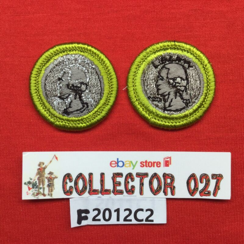 Boy Scout 2 Coin Collecting Merit Badges 1 White Letters 1-Black Letters
