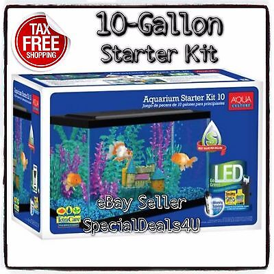 Aquarium Kit 10 Gallon Fish Tank Led Light Hood Filter Clear Starter Set Pet NEW