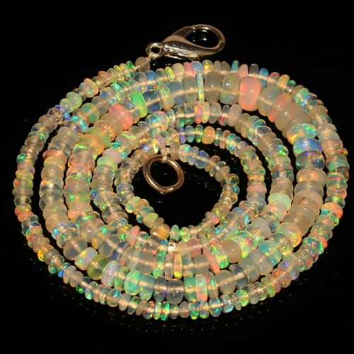 Natural Fire Opal Rondelle Beads Necklace 18 Inch 5 mm 25.84 Cts Ethiopian