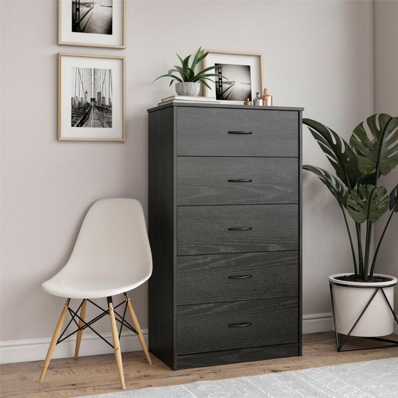 Mainstays Classic 5 Drawer Dresser, Black Oak Finish - FREESHIP