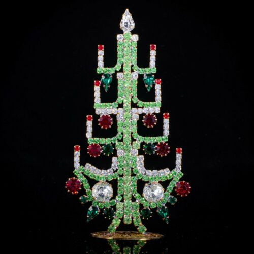 "Czech christmas tree - stand-up - rhinestone - 5.12"" x 2.76"""