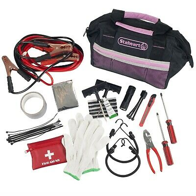 Pink 55 Piece Roadside Emergency Auto and Tool Kit Jumper Cables