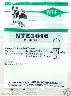Nte Nte3016 2-pack Redgreen Bi-color Led - Diffused Lens Panel Indicator