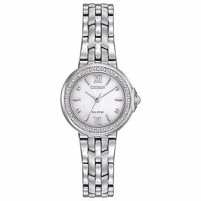 Citizen Eco-Drive Women's EM0440-57A Diamond Accents Silver-Tone 28mm Watch