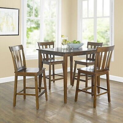 5 Piece Wooden Dining Room Set Table Chairs 4 Person People Counter Height