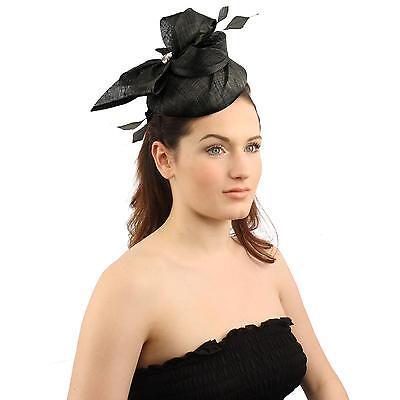 Elegant Derby Feather Jewel Headband Fascinator Cocktail Mini Church Hat Black