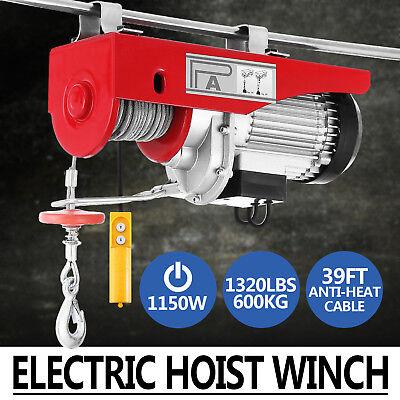 1320lbs Electric Hoist Winch Lifting Engine Crane Lift Hook Brackets Overhead
