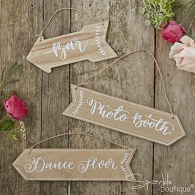 WOODEN WEDDING/PARTY VENUE SIGNS (Bar/Photo Booth/Dancefloor) Rustic Arrows-BOHO (Wedding Bar Signs)