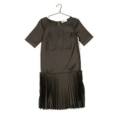 RRP €235 JUCCA Flounce Dress Size 42 Openwork Pleated Elbow Sleeve Made in Italy