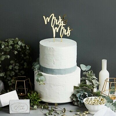Gold Mirror Acrylic Mrs & Mrs Cake Topper-Wedding,Cake Decoration,Best Day Ever  ()
