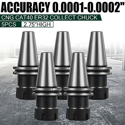 Cat40-er32 Collet Chuck--5 Chucks -new Tool Holder Set For Milling Machine