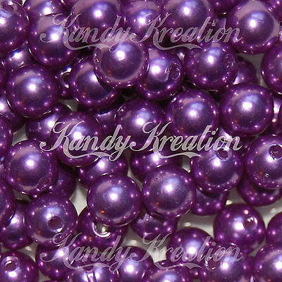 (10mm Purple Acrylic Round Pearl Spacer chunky bead for bubblegum necklace Crafts)