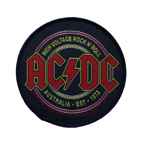 AC/DC High Voltage Rock N Roll  Round Woven Sew On Battle Jacket Patch - 090