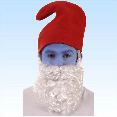 Rote Zwergenmütze mit Bart Hut für Zwerge Gnom Märchen Karneval Kostüm (Rote Gnom Hut)